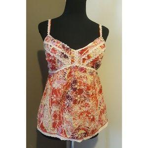 Cynthia Steffe tank top sz 4 floral crochet
